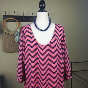 Coral Pink & Blue Chevron Shift Dress 3x